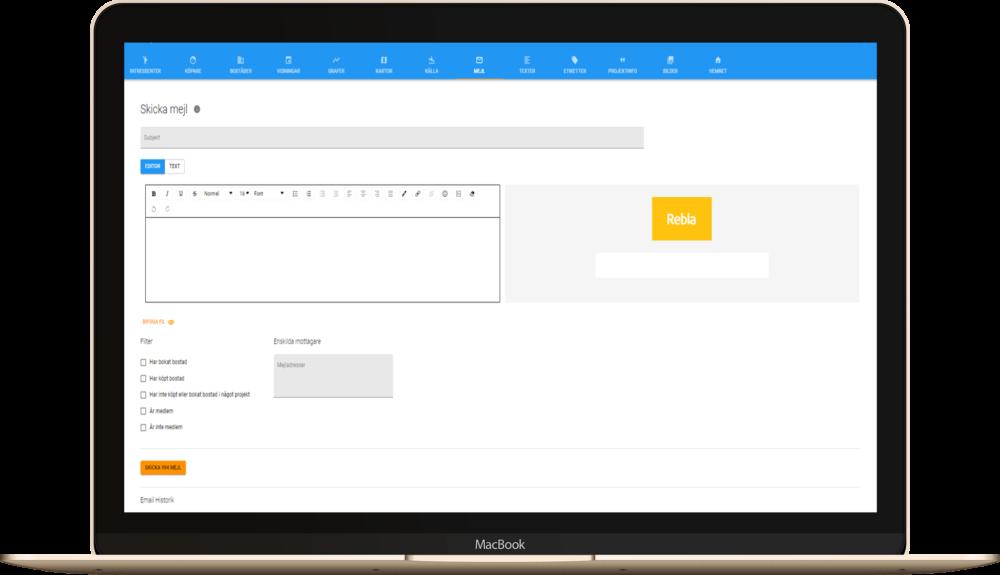 Mailfunktion i Reblas crm-system för nyproduktion